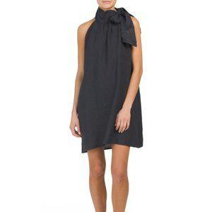 BELLA AMBRA Made In Italy Halter Neck Linen Dress